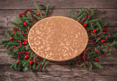 Decoración de navidad sobre fondo de madera — Foto de Stock
