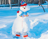 Snowmen in garden — Stock Photo