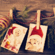 Christmas theme  on wooden planks — Stockfoto