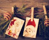 Christmas theme on wooden planks — Stock Photo