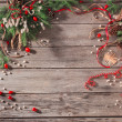 Stock Photo: christmas decoration over wooden background