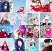 Collage with beautiful girls in winte park — Stock Photo