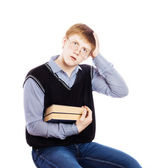 Young men with books isolated on white — Stock Photo