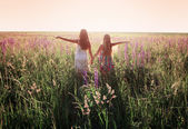 Two girls outdoor — Stock Photo