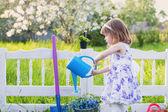 Flores de primavera riego chica — Foto de Stock