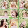 Collage with spring portrait beautiful children — Stockfoto