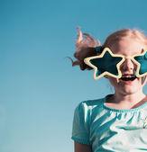 Funny girl in big glasses — Stock Photo