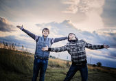 Two happy teenagers outdoor — Stock Photo