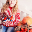 Smile girl with vegetables — Stock Photo