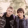 Stock Photo: Portrait of two young teenagers outdoor
