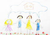 Child's drawing happy family — Stock Photo