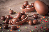 Chocolate Easter Eggs Over Wooden Background — Stock Photo