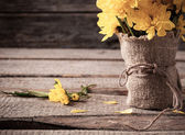 Yellow flowers on wooden background — ストック写真