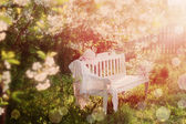 Garden bench with spring flowers — Stock Photo