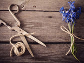 Snowdrops on wooden background — Stock Photo