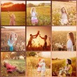 Collage with images at sunset — Stock Photo