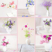Collage of flowers in a white vase — Stock Photo