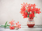 Red lily in jug — Foto de Stock