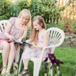 Portrait of a beautiful young mother and her daughter reading bo — Stock Photo #47523839