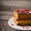 Cake with hearts on wooden background — Stock Photo #48630481