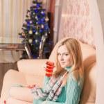 Beautiful girl over Christmas tree — Stock Photo #48632091