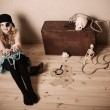 Pirate girl with treasure — Stock Photo #48853471