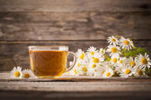 Cup of tea with linden — Stock Photo