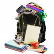Stock Photo: Schoolbag with supplies for education