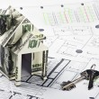 House of the money and the keys for the architectural plan — Stock Photo #12087519
