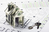 Casa del dinero y las claves para el plan arquitectónico — Foto de Stock