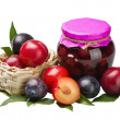 Plum compote and fresh plums — Stock Photo