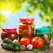 Stock Photo: Canned and fresh vegetables on background of nature