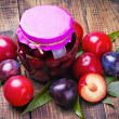 Royalty-Free Stock Photo: Canned and fresh plums