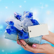 Blue gift in a female hand — Foto de Stock