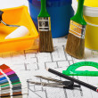 Materials and supplies for repair at the architectural drawing — Stock Photo #12624076