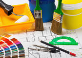 Materials and supplies for repair at the architectural drawing — Stock Photo