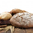 Different assortment fresh bread and wheat ears — Stockfoto