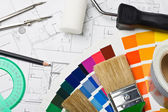 Paints and paint repair on the architectural plan — Stock Photo