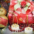 Stock Photo: Christmas gift and different decorations to the holiday