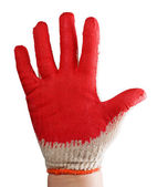 Gloved hand stained in red paint — Stock Photo