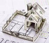 дом деньги на архитектурный чертеж — Стоковое фото
