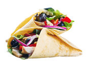 Tortilla with meat and vegetables — Stock Photo