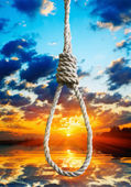 Gallows on the background of the last sunset of life — Stock Photo