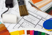 Paints, brushes and accessories for repair — Stock Photo