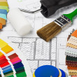 Stock Photo: Samples of materials colors, upholstery and cover