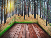 Room with a wooden floor and a picture of a pine forest — Stock Photo
