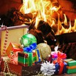 Christmas toys and decorations in wooden box — Stock Photo