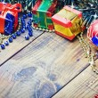 Stock Photo: Christmas decorations, balloons and gifts