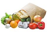 Food in a paper bag — Stock Photo