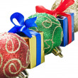 Stock Photo: Christmas balls and gifts isolated